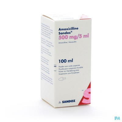 Amoxicilline Sandoz 500mg/5ml Pdr Orale Susp 100ml